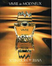 PUBLICITE ADVERTISING 104  1980  MOLYNEUX  parfum eau de toilette VIVRE pour fem