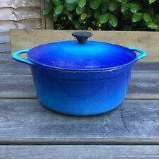 Vintage Cousances Le Creuset Cast Iron Blue 22cm Round Casserole & Lid Used