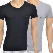 Emporio Armani Underwear Men's 2-Pack Stretch Cotton V-Neck T-shirt, Black/Grey