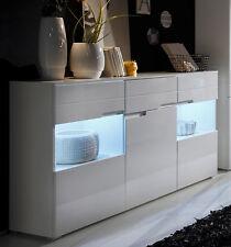 Sideboard in weiss Hochglanz mit LED-Beleuchtung Anrichte Schrank Woody 61-00107