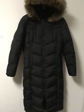 Women's DKNY Black Puffer Long Coat Parka Hooded Jacket Polyester/Down Size S