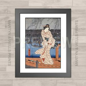 Hiroshige framed print: Evening on the Sumida. 400x325mm. Textured canvas paper.