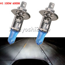 2X H1 6000K XENON GAS HALOGEN WHITE LIGHT LAMP BULBS 100W 12V