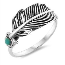 Feather Ring Genuine Sterling Silver 925 Oxidized Face Height 6 mm Size 5