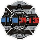 4 Inch Non Reflective IAFF Blue Red Line Maltese Distressed Flag Sticker Decal