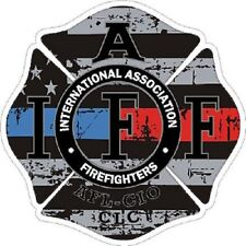 4 Inch Reflective IAFF Blue Red Line Maltese Distressed Flag Sticker Decal 6536