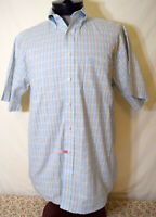 George Strait Cowboy Cut Collection Wrangler Small Shirt Ylow Blue Plaid Western
