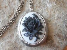 BLACK ROSE ON GRAY CAMEO ANTIQUED SILVER PLATED LOCKET - VINTAGE, GOTH, MOURNING