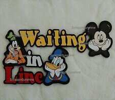 DISNEY WAITING IN LINE Mickey Donald Goofy Die Cut Title Scrapbook Paper Piece