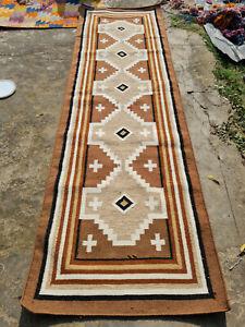 Large Wool Kilim Navajo Southwestern Bohemian Runner Rug 3x10 ft Handmade Rug