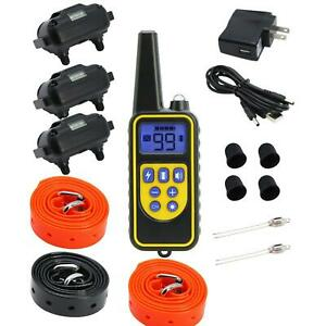 3 Dogs Training Remote Waterproof Dog Electric Shock Bark Collars Rechargeable