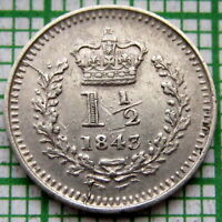 GREAT BRITAIN CEYLON WEST INDIES QUEEN VICTORIA 1843 1-1/2 PENCE COLONIAL SILVER