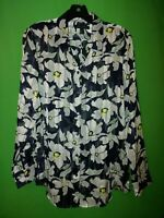 1533) BANANA REPUBLIC medium M navy blue floral button down blouse polyester M