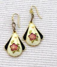 Earrings dangle gold tone Cloisonne Vintage Fashion Jewelry Flower