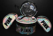 Victoria's Secret PINK 4 pc Rainbow Travel Case, Wristlet & Beauty Bags *Nw/T*