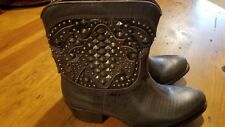 FRYE Womens Brown Studded Leather Short Cowboy Boots Sz 7 M