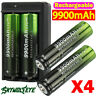 4PCS Battery 3.7V Li-ion Rechargeable Batteries with Charger For LED Flashlight