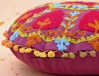 Round Suzani Cushion Cover Cotton Pillowcases Floral Embroidery Throw Pillow 16""
