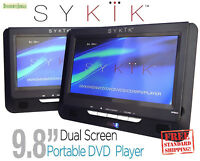 """Sykik SYDVD296 9.8"""" Dual screen portable DVD player USB SD rechargeable battery"""