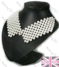 RETRO PEARL COLLAR NECKLACE Peter Pan KNITTED PEARLS gold fashion WHITE beads