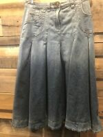 Small Petite Soft Surroundings Ombre Long Denim Jean Skirt Modest No Slit Pocket