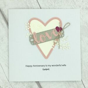 Handmade Personalised Wife Anniversary Card - Love