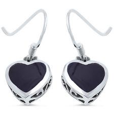 Black Onyx Heart .925 Sterling Silver Earring