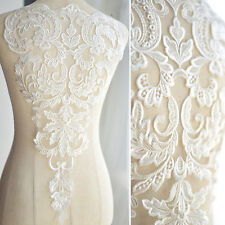 Embroidery Lace Applique Off White Lace Motif Sew on Wedding Accessories 1 Piece