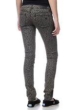 Volcom Jeans Womens Sz 7 x 33 Gray Pistol Legging Fit Denim Animal Print Stretch