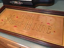 """VTG Needlepoint Embroidery """"HOME SWEET HOME"""" in Wood Frame ANTIQUE RESTORED"""