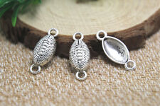 25pcs rugby Charms Antiqued Silver Tone rugby connector charm pendants 25x10mm