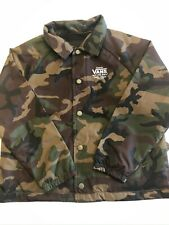 Vans New Torrey Kids Collared Button Down Lightweight Jacket Youth Size 5/M Camo