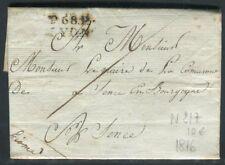 Lettre avec texte de Lyon pour Sens en 1816 - ref N 217