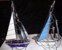 Deko Segelboot Glasboot Schiff Segelyacht Metall / Buntglas Maritime Handarbeit