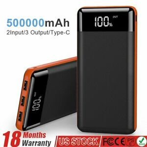 500000mAh External Portable Charger Power Bank LCD 3USB Battery for Mobile Phone