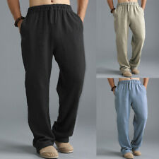 Men's Linen Style Boho Pants Vintage Yoga Beach Trousers Baggy Kung Fu Pants New