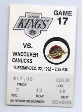 Pavel Bure, Paul Coffey goal ticket stub; Vancouver Canucks at Kings 12/22/1992