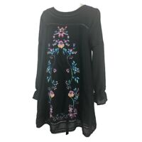 UMGEE size large black multicolor embrodiered floral tunic dress boho hippy a193
