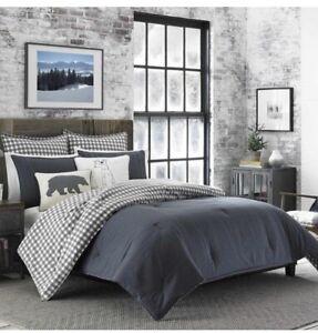 3 Piece Eddie Bauer Queen/ Full Size Comforter Bed Set Bedding Plaid White/ Blk