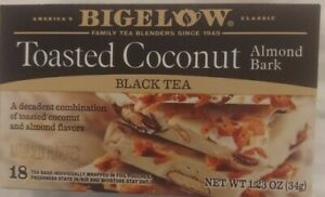 (2) Bigelow TOASTED COCONUT Almond Bark Black Tea - 36 Total 1.23oz EXP 02/24