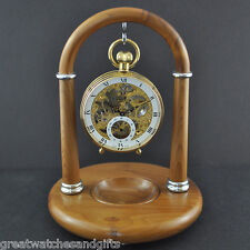 Hand Crafted English Yew Wooden Pocketwatch Holder from the Swiss Jura Mountains