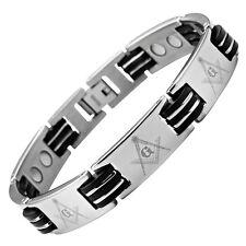 MasonicMan Mens Masonic Titanium Magnetic Bracelet Link Adjuster Free Velvet Box