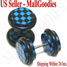 1268 Fake Cheater Illusion Faux Ear Plugs Blue Checkered Print Parttern 0G 8mm