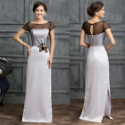 Mother of The Bride Lace Satin Long Formal Evening Party Gown Bridesmaid Dress