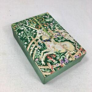 Vintage Unicorn In Captivity Tapestry Box Storage Fabric Green Renaissance