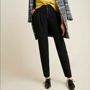 Anthropologie Sasha Black Tapered Trousers Size 8 Button Fly, Pockets