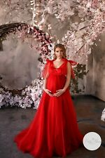 Maxi Maternity Photography Gown «Margo» Red, NWT, DIY, Made To Order