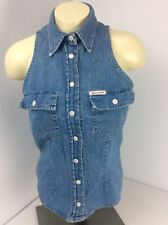 Vtg 90s GUESS Jeans Denim Snap Button Pocket Darted Vest Size Small/Medium USA