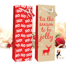 Luxury Large Christmas Xmas Wine Bottle Holder Party Gift Paper Bags Present