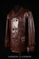 homme KRIEGSMARINE marron Allemand U-BOAT WW2 Hide Veste cuir pois manteau